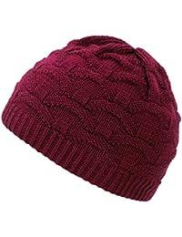 4sold Wava Lady Skullies Bonnets Bonnet fourré hiver pour femme bonnet tricoté avec torsades en fourrure plusieurs coloris taille unique