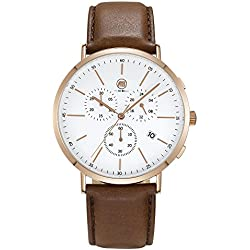 AIBI Mens Waterproof Leather Analog Analogue Chronograph Watch with Date & Stopwatch