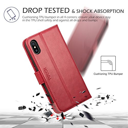 Cover iPhone X, Cover iPhone 10, TUCCH Cover in Pelle con Interno TPU Antiurto [GARANZIA DI VITA], Supporto Stand, Carta Fessura e Protettiva Flip Wallet Case per Apple iPhone X(5,8) – Nero Rosso