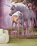 Poster Fototapete Vlies XXL Kinder Einhorn Fohlen rosa lila Material Decor selbstklebend, Größe 80 x 100 cm