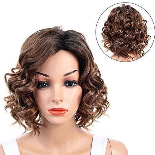 ZQ Braune Perücken mit Pony für Frauen, Kurze gewellte/lockige Haarperücke Synthetisch Voll hitzebeständige weibliche Perücken mit Perücke