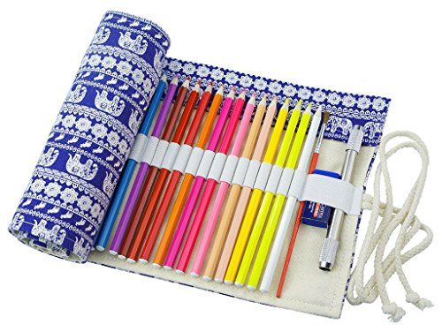 Ruikey Leinwand Stifterolle, Retro Pencil Wrap Roll up Holder Rollentasche Federmappe Schlamperrolle...