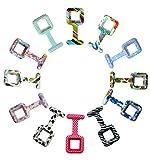 ELLEMKA - JCM-885 Art MZM S12 Silikon Hüllen Quadratform Analoge Schwesternuhr Schutz Set verschiedene Designs 12er Pack Kompatibel mit FOB Uhrwerk Ausmaße 33*33*9 mm mit Anstecknadel Pin, ohne Uhrwerk