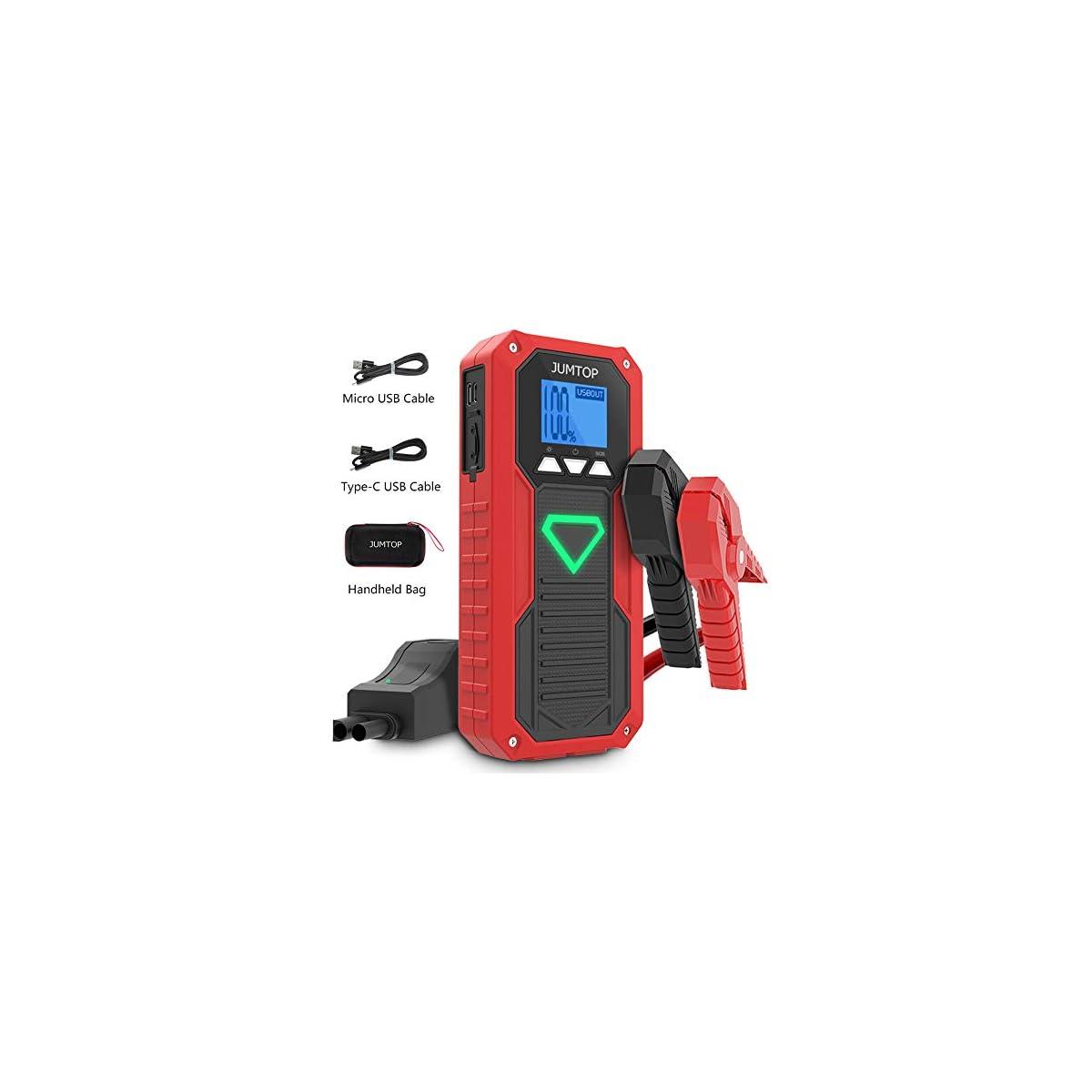 51p2flAvotL. SS1200  - JUMTOP Arrancador de Coches-2000A Pico 14400mAh Jump Starter, Batería Arrancador de Coche-Arrancador de automóviles(Motor 8.0L Gas / 6.0L diésel)-Batería automática, Cargador teléfono bancario