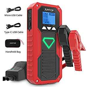 JUMTOP Arrancador de Coches-2000A Pico 14400mAh Jump Starter, Batería Arrancador de Coche-Arrancador de automóviles(Motor 8.0L Gas / 6.0L diésel)-Batería automática, Cargador teléfono bancario