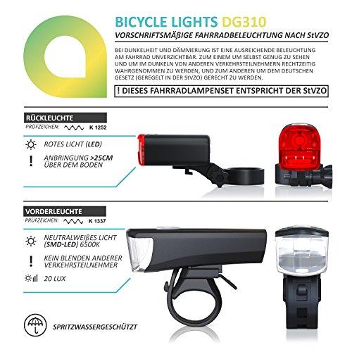 CSL - LED Fahrradbeleuchtung Set StVZO zugelassen | Fahrradlicht / Fahrradlampe / Fahrradleuchte | inkl. Front- und Rücklicht | 1x Lichtstärke-Modus | energiesparend | stoßfest - 5