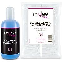 Mylee Kit Gel Limpiador de Residuos Prep & Wipe 250ml + 200 Toallitas de Algodón Sin Pelusa, Cuidado para la Preparación y Acabado de las Uñas, Limpia y Desinfecta la Capa Pegajosa