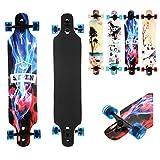 AIMADO Jungen und Mädchen Drop Down Longboard Komplette Skateboard Ahorn Holz Cruiser Skateboard Komplettboard (Eisfeuer)