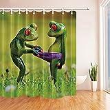 GoHEBE - Cortina de ducha impermeable con diseño de ranas de decoración de animales,...