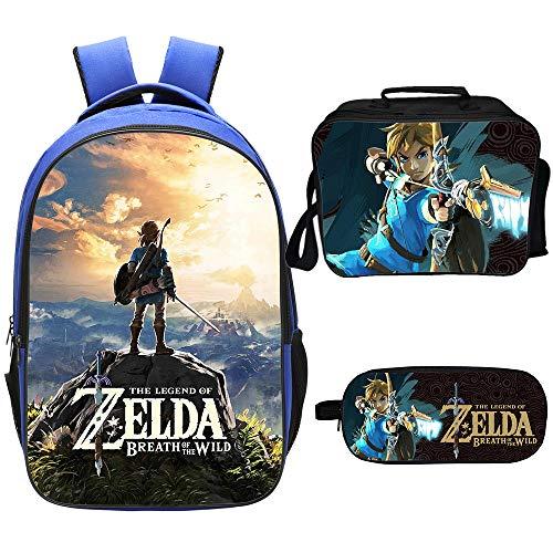 Qushy Legend of Zelda Rucksack Lunchbox Federmäppchen Outdoor Schule Paket, a