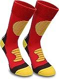 normani 3 Paar Multifunktionale Sportsocken mit Schienbein- & Fußrückenpolster geeignet als Skating- Inliner- Motorrad- & Trekkingsocken Farbe Rot/Gelb Größe 47/50
