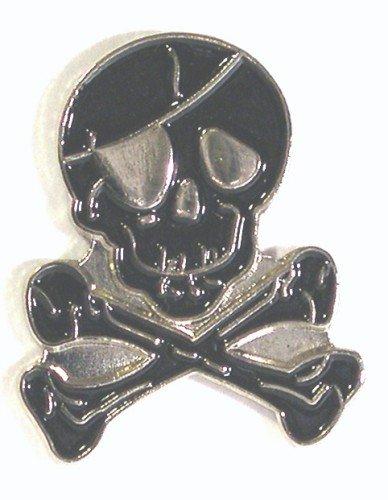 Pin de metal esmaltado en forma de calavera y huesos negros
