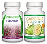 Forskolin by Natural Answers & Garcinia Slim 500 Plus - 1 Month Supply - High Strength 100% Pure Natural Fat Burner Tablets for Men and Women - Pure Appetite Suppressant Formula - Burn Fat Fast - Premium Weight Loss Pills - UK Manufactured