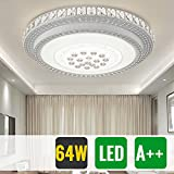 HG® 64W Deckenleuchte Weiss LED Deckenlampe Schlafzimmer Flurleuchte Wohnzimmer Starlight-Design
