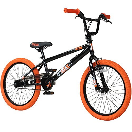 deTOX 20' BMX Freestyle Kinder Anfänger ab 130 cm, 7 J, Farbe:schwarz/orange