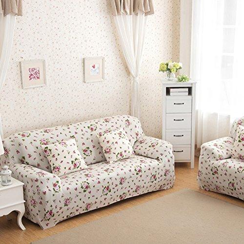 Sofa für 2-Sitzer-Sofa Schonbezug Stretch Elastic Pet Dog Polyester-Couch Displayschutzfolie-Soft Couch Cover Floral Print Bettüberwurf, white rose, 2-Sitzer