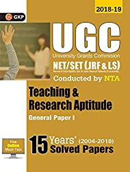 UGC NET/SET (JRF & LS) Paper I: Teaching & Research Aptitude General - 15 Years' Solved Papers 2004-18