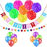 esonmus Party Dekoration Geburtstag Set Happy Birthday Banner Fahnen + Pom Poms Deko + Polka Dot Girlande + Luftballons Für Jungen Und Mädchen Alters Geburtstag
