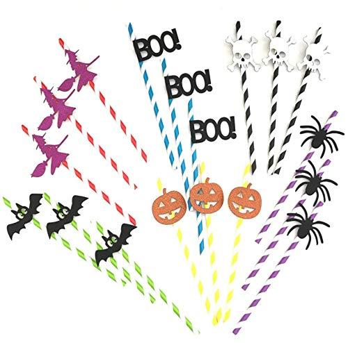Astra Gourmet 60-pack Halloween Papier Trinkhalme, Kürbis Ghost Skelett Fledermaus Spider Trinkhalm für Halloween Party £ ¨ 6Muster)
