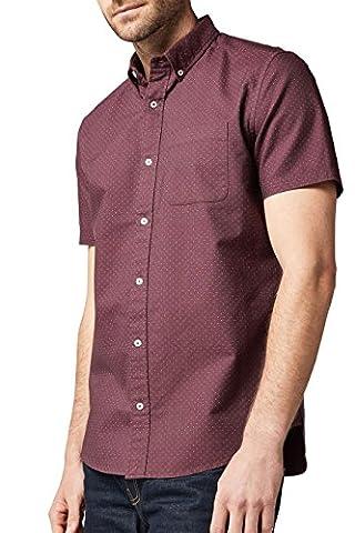 next Herren Kurzaermliges Oxford-Hemd mit Tupfenprint Regular XL Burgund