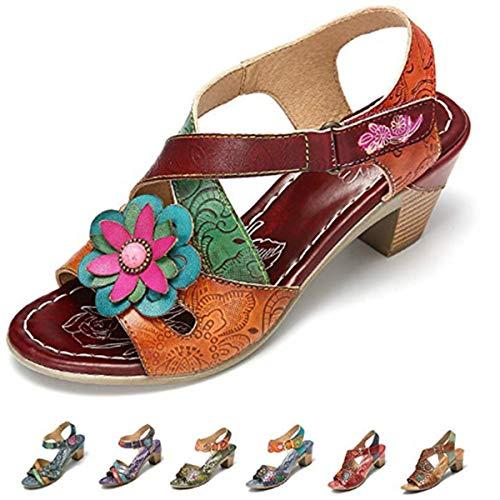 gracosy Damen Mary Jane Pumps Leder Sommerschuhe Bunte Schuhe mit Absatz 2019 Elegant Sommer Sandalen Party Schuhe Damen Sommer -
