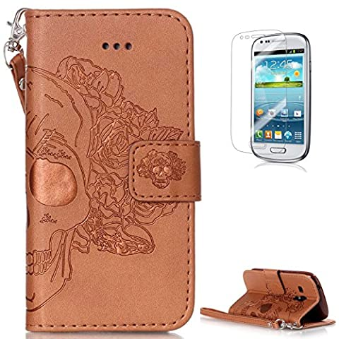Samsung Galaxy S3 Mini i8190 Leather Wallet Case [with Free Screen Protector],KaseHom Skull Rose Flower Pattern Design Embossed Book Style Folio Flip Magnetic Closure Stand Function with Card Slots and Detachable Wrist Strap Synthetic PU Leather Protective Case Cover Skin Shell for Samsung Galaxy S3 Mini i8190 - Brown #1