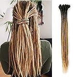 Dreadlocks Extension 20 Pouce 10 Brins À La Main Dreads Synthétiques Dreadlocks Crochet Tressage Cheveux Doux Faux Locs De Mode Reggae Cheveux (24 pouces, Noir & Marron Clair)
