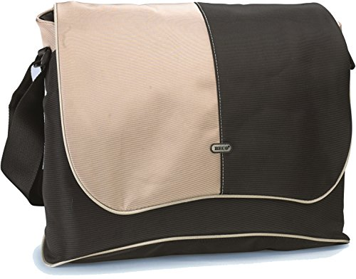 BECO Messenger-Notebook-Tasche  für Notebooks bis zu 19 Zoll widescreen, mit gepolsterter Innentasche, 6 Taschen für Zubehör, mit gepolstertem Schultergurt, Material: Nylon, Farbe: Schwarz/beige, Innenmaße: 45.0 x 32.0 x 5.0 cm, Polybeutel mit farbigem Einleger (17-zoll-widescreen Laptop-tasche)