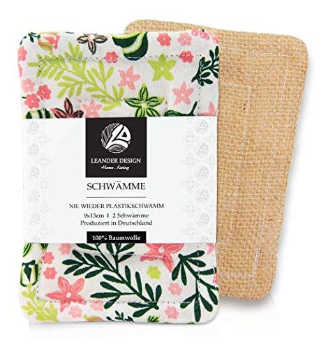2er-Pack Spülschwämme im Set 9x13cm - aus Baumwolle in Premiumqualität - Handgearbeitet - umweltfreundliches Abwaschen - tiefe Reinigung für die Küche - haltbarer Schwamm - blau (9 x 13 cm, rosa-grün) - Tiefe Reinigung