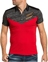 BLZ jeans - polo homme rouge zip fantaisie