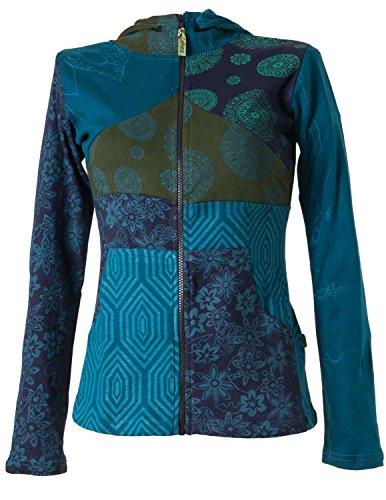 Vishes – Alternative Bekleidung – Kurze, leichte Patchworkjacke aus Baumwolle mit Kapuze türkis 46/48 (Alternative Kapuzen)
