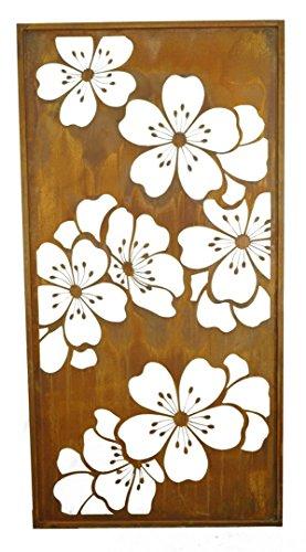 Métal Michl Sakura Fleurs Fleurs Paravent Hauteur 200 cm Largeur 100 cm avec bordure