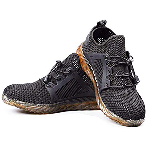 Indestructible Ryder Shoes Damen Herren Steel Toe Air Safety Breathable Boots Sneakers Breathable (44, Black) Black Safety Toe Boot