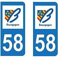 Paire Sticker immatriculation 58 - Nièvre