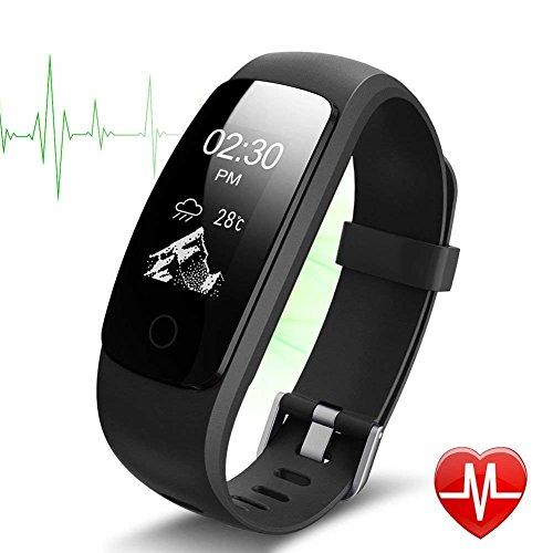 Pulsera Actividad Pulsera Inteligente con GPS para Correr,IP67 Impermeable Pulsera Móvil Monitor de Ritmo Cardíaco, Sueño, Control de Musica y Cámara, Notificación de Mensaje, Reloj Inteligente para iOS y Android Negro