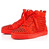 Christian Lauboutin Poppy Metall Spikes Sneaker Sport Red Gr. 43