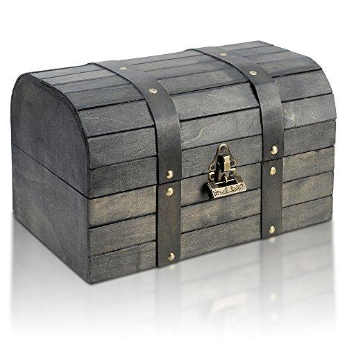 Thunderdog Joe - Piraten-Schatztruhe 31x20x18cm Schatzkiste Holz-Truhe mit Schloß