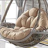 QLIGHA Sitzkissen ohne Halterung Wasserdicht Dickes Nest Waschbar Hängende Ei-Hängematte Aufhängekorb Kissen Khaki (Nur Kissen)