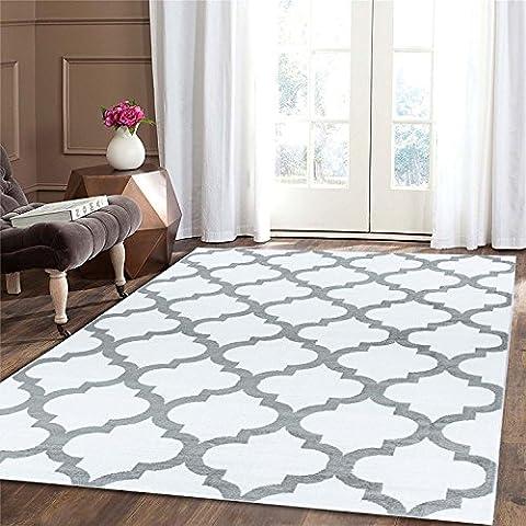Tapis 160 X 160 Blanc - Trendy Tapis 5309, blanc, 160x230 cm -