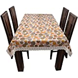 Casa Furnishing PVC Beige Color Flower Printed 6 Seater Table Cover/Cloth Waterproof Protector 60x90 Inches Rectangle (Dining Table Cover With Lace 6 Seater)
