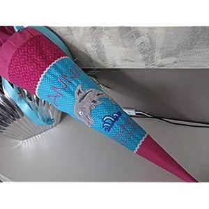 #182 Delphin türkis-pink Delfin Schultüte Stoff + Papprohling + als Kissen verwendbar