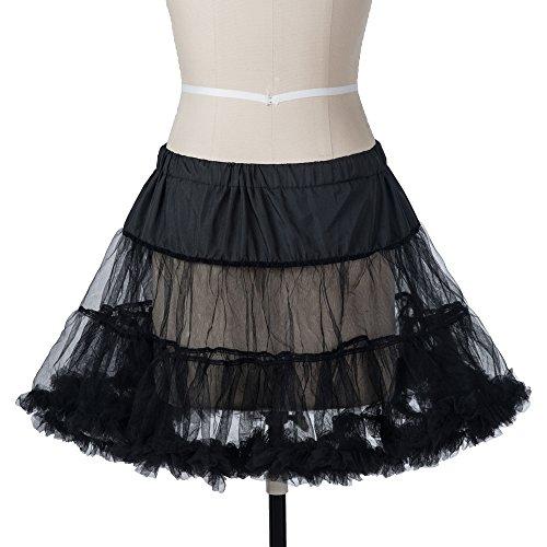 Boolavard 18″ 50s Retro Underskirt Swing-Klassiker Mini Petticoat Fancy Net Tulle Unterrock Rocke Rockabilly Tutu (L-XXL (EU 42-50), Schwarz) - 2