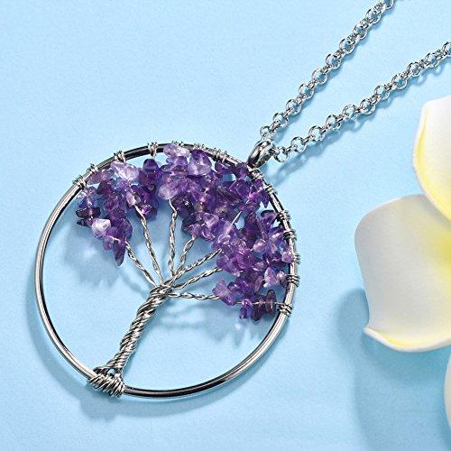 MURTOO Bijoux Femmes Sautoir Collier Pendentif Cercle Arbre de Vie Violet