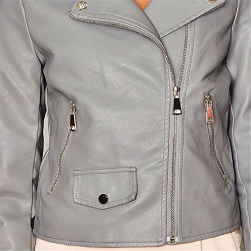 Reißverschluss Vorne Zip Up Faux PU Leather Moto Bikerjacker Bomberjacke Blouson Jacket Jacke Oberteil Top Grau - 5