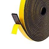 Fowong Nastro in schiuma autoadesiva Chiuso per porte e finestre a tenuta chiusa per porte e finestre Antivento Sigillo Nastro isolante insonorizzato, 3 pezzi 5 m (L) x 12 mm (L) x 3 mm (T) Bianco