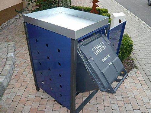 Resorti Mülltonnenbox Quadra 2-4 Mülltonnen mit 120 / 240 Liter Volumen Feuerverzinkt und Pulverbeschichtet inkl. Kippvorrichtung und Pflanzdach … (3 x 240 Liter, Anthrazit RAL7016) - 5