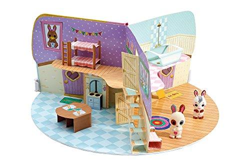 Fuzzikins Craft Cottontail Cottage | 2 Süße Häschen und Ein faltbares Papierhäuschen Zum Bemalen und Bekleben | Abwaschbares Spielzeug für Kinder ab 3 Jahren - Cottage Möbel