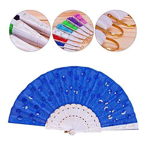Peacock Pailletten tanzen Fan chinesischen Holzklappfächer Altertum Bronzing Fan Zubehör für Kostüm Halloween Tanzparty Tea Party Variety Show Weihnachten Frauen Mädchen Geschenke, blau