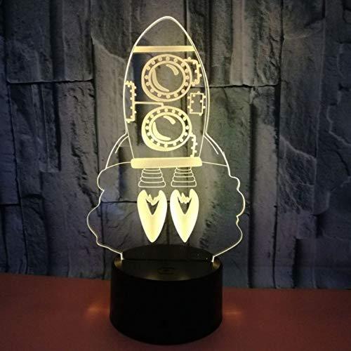 Coloré 3d créatif Vision Night Light Rocket 3d lampe stéréoscopique Usb étrangère a conduit la lumière