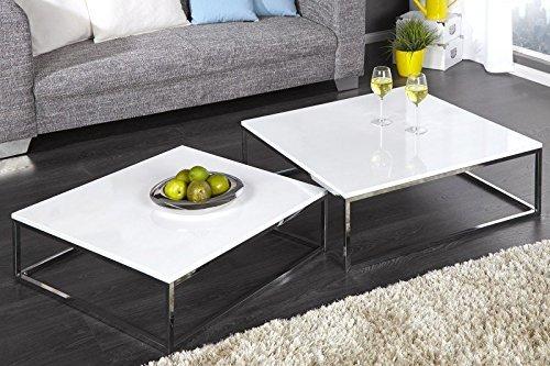 DuNord Design Couchtisch Beistelltisch 2er Set Stage Weiss Hochglanz Chrom Design Tisch Set - Glas Rechteckige Sofa-tisch